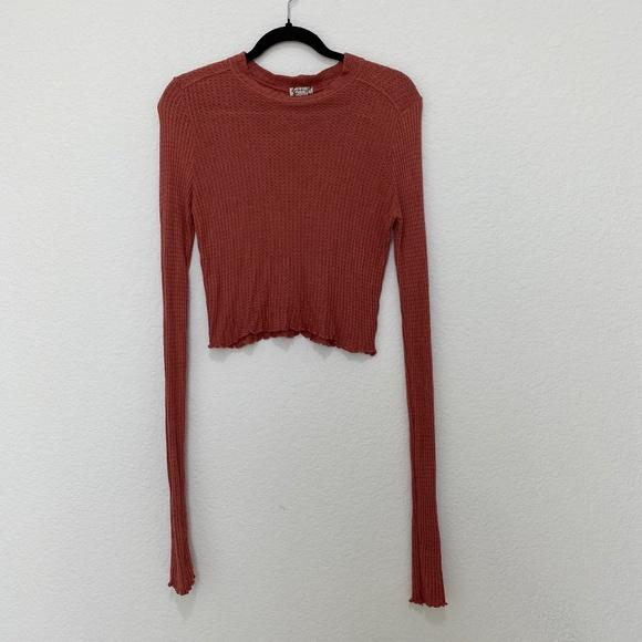Intimately Free People Orange Crewneck Long Sleeve Top Size S